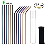 MultiColor Colorful Stainless Steel Straws Set of 12 Extra Long 10.5'' Reusable Metal Multi Colored Drinking Straws for 30/20oz Tumbler FDA-Approved Straws(6 Straight +6 Bent + 3 Brushes + 1 Pouch)