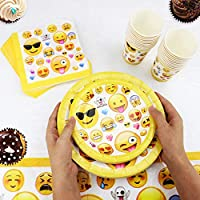 Kompanion 81 Piezas Vajilla para Cumpleaños–Diseño de Emoji – 20 Platos Vasos, Servilletas y Mantel Resistente – Accesorios de Fiesta para Celebración ...