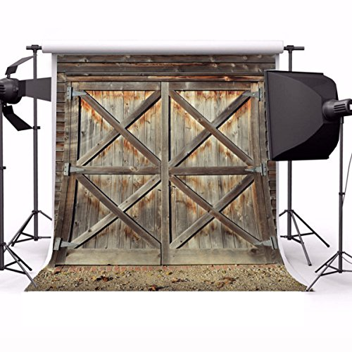 Laeacco 6x6ft Vinyl Backdrop Rustic Barn Photography Background Shabby Door Front Barn Wooden Texture Grunge Backdrop Countryside Style Children Adults Backdrop Photo Studio Props -