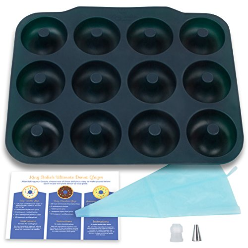 Large Luxury Donut Pan - BPA-Free, SUPER-NON-STICK, 12 Full Size Donut, Bagel Pan with Bonus Pastry Bag and Recipe Card.