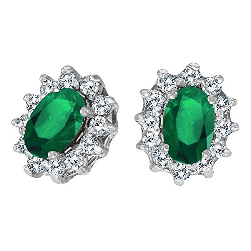 FB Jewels Solid 10k White Gold Studs Genuine Green Birthstone Oval Emerald and .25 total ct Diamond Earrings (0.62 Cttw.) ()