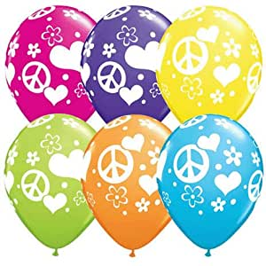 Peace Sign Love Latex Balloons Qualatex 11 Inch (100) hippie party decorations