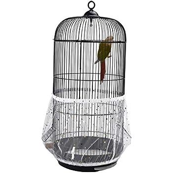 1709248ba QBLEEV Bird Cage Seed Catcher Mesh Birdcage Seeds Skirt Guard Net Cover  Shell for Round Bird