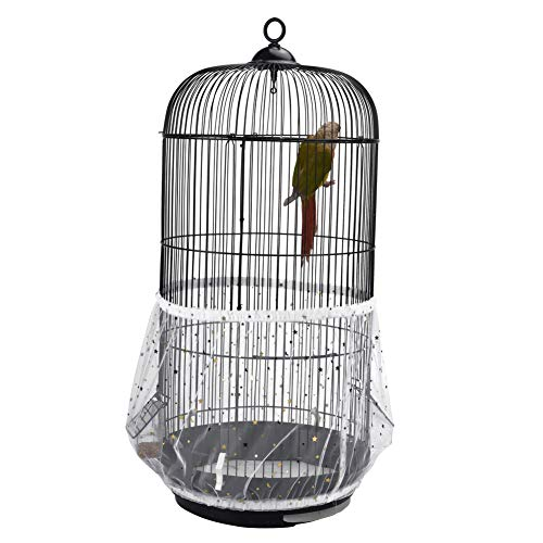 - QBLEEV Bird Cage Seed Catcher Mesh Birdcage Seeds Skirt Guard Net Cover Shell for Round Bird Cages White