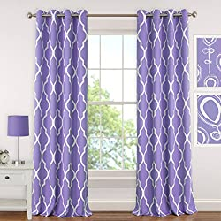 "Elrene Home Fashions 026865901290 Juvenile Teen or Tween Blackout Room Darkening Grommet Window Curtain Drape Panel, 52"" x 63"", Purple"