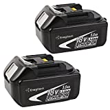 ENEGITECH MKT18V5.0-2 Enegitech 2 Pack 18V 5.0AH LXT Lithium-Ion Replacement Battery for Makita BL1850 BL1840 BL1830 LXT-400 194204-5 Cordless Power Tools (Slide-Style), 2 Piece,
