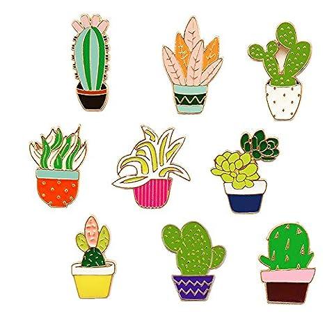 Beyonder Fashion Cute Cartoon Brooch Pins Animal Floral Fruits Rainbow Foods Glass Enamel Brooches Pins Badge for Women Girls Clothing Bag Decor (Flower plants set of - Enamel Floral Brooch Pin