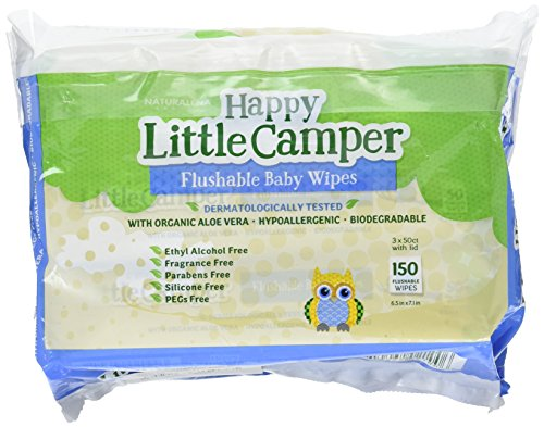 Happy Little Camper Flushable Baby Wipes with Organic Aloe, Septic Safe, 150 Count
