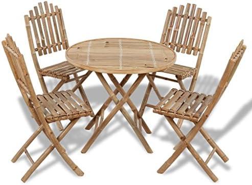 vidaXL Juego de Comedor de Jardín Plegable 5 Piezas de Bambú Mesa Sillas Patio: Amazon.es: Hogar