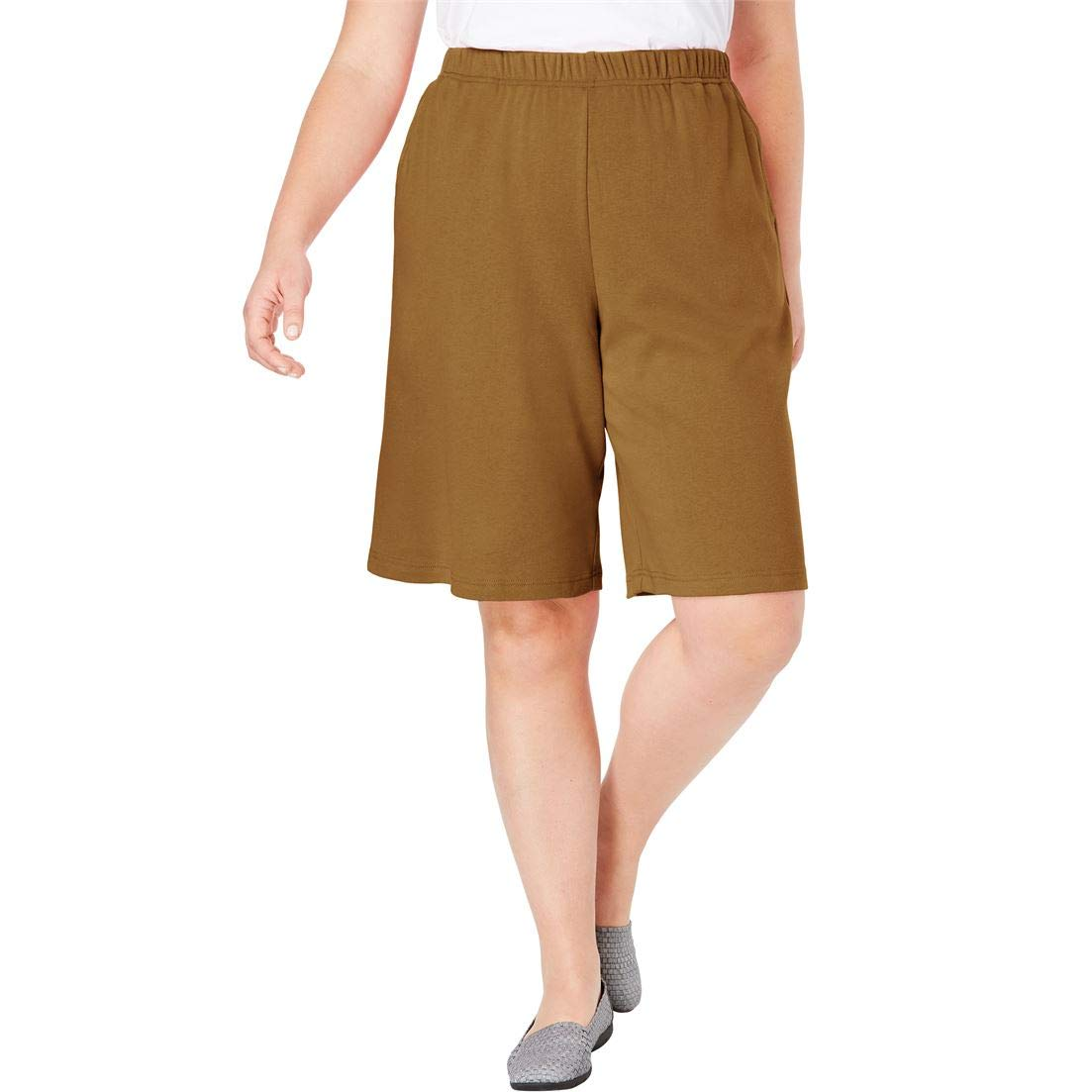 Woman Within Plus Size 7-Day Knit Short - Soft Brown, L