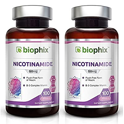 2 B-3 Nicotinamide 500 mg 100 Caps Pack - Natural Flush-Free Vitamin Formula | Gluten-Free Nicotinic Amide Niacin | Supports Skin Health | UV Protection | Healthy Cell Repair
