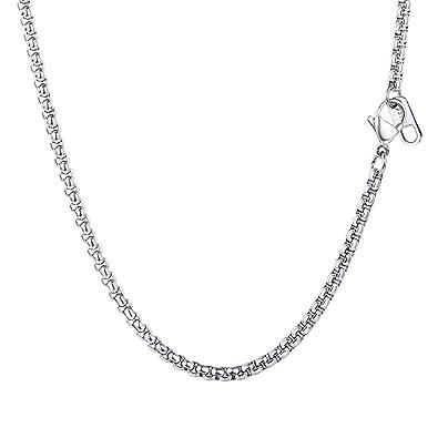 df9ca8d3ad9 PROSTEEL Collier Simple pour Homme Chaîne de Cou en Acier Inoxyadable 316L  Maille Vénitienne Arrondie Bijoux