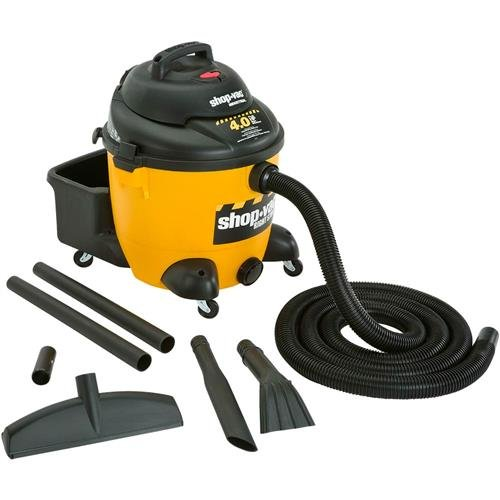 Industrial Wet Dry Vacuums, 10 Gallon, 4 HP, 120 Volts, Poly