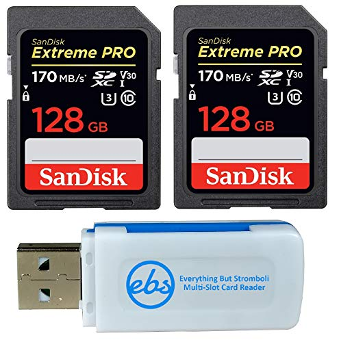 SanDisk 128GB (Two Pack) Extreme Pro Memory Card (SDSDXXY-128G-GN4IN) SDXC 4K V30 UHS-I Class 10 with Everything But Stromboli (TM) Combo Reader (Card For Memory 70d)