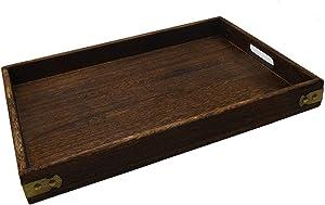 "Wood Serving Tray with Handles 15.7""x 11"" Tea Tray Bed tray Food tray Breakfast tray"