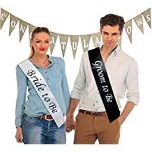 """Bride to Be"" & ""Groom to Be"" Sashes & ""Congratulations"" Burlap Banner (Set of 3 Bundle); Great for Engagement Party, Bridal Shower, Rehearsal Dinner, & Photo Shoots"
