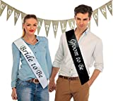 """""""Bride to Be"""" & """"Groom to Be"""" Sashes & """"Congratulations"""" Burlap Banner (Set of 3 Bundle); Great for Engagement Party, Bridal Shower, Rehearsal Dinner, & Photo Shoots"""