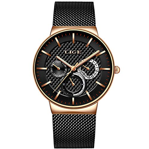 LIGE Mens Watches Stainless Steel Waterproof Sports Analog Quartz Watch Date Display Black Dial Gents Business Casual Luxury Dress Wrist Watch with Mesh Band Rose Black ()
