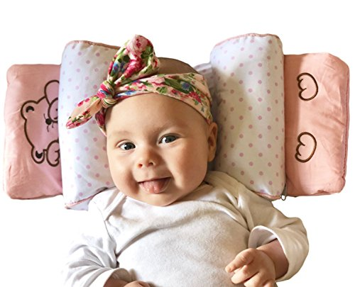 Infant Pillow for Safer Resting and Diaper Changing - Hypoallergenic Buckwheat Hulls and Adjustable Support - Newborn Baby Girl or Boy up to 14 Months (Blue or ()