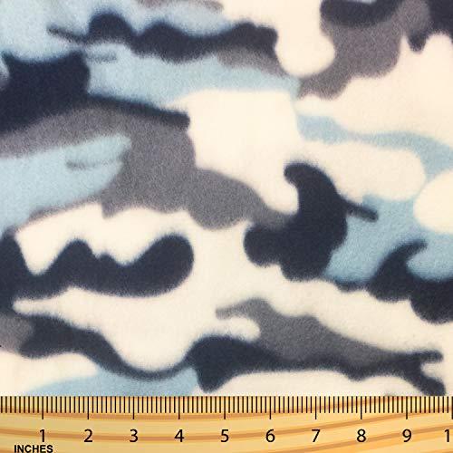 Polar Fleece Fabric (2 Yards Pre-Cut) 100% Polyester Anti-Pill - Denim Blue Camouflage, Blue - Navy/Grey ()