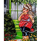 DIY Diamond 5D Embroidery Paintings,Fat Women Oucan 5D Embroidery Painting Kit 5D Decorating Wall Stickers 5D DIY Diamond Painting Set for Living Room