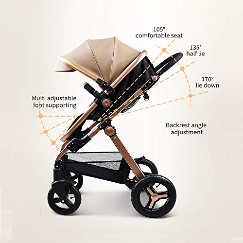 51rKaeGD6iL - Anti-Shock Luxury Baby Stroller 3 In 1,Babyfond Convertible Bassinet To Toddler Stroller,Reinforced Frame For Safety,Vista Pram,Quick Fold Baby Carriage(2020 Upgraded Version Black PU)