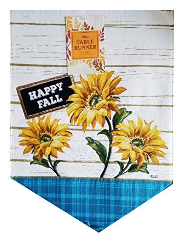 - Nantucket Happy Fall Table Runner Appliqued Sunflowers 13 x 36 inches