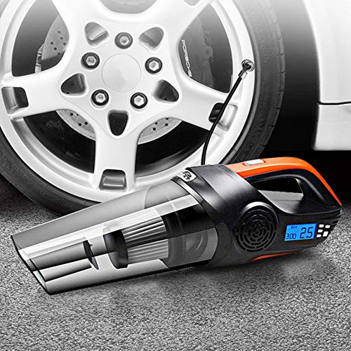 Car Vacuum Cleaner 30-Cylinder Four in One New Wet and Dry High Power with LED Screen - Black&oOrange