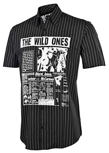 (Famous Stars And Straps Men's Wild Ones Button Down Shirt-Black-Small)