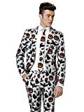 Mens 'Halloween Grey Icons' Costume Suit and Tie By Suitmeister, X-Large