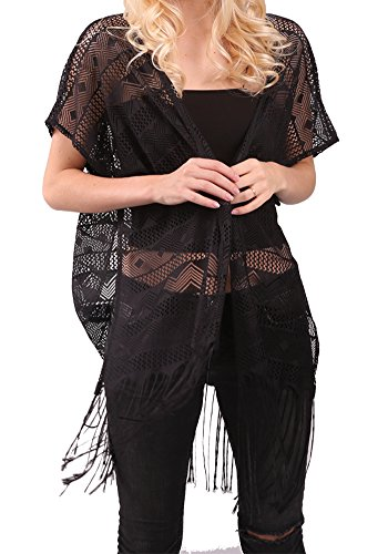 Womens Fashion Lace Crochet Cardigans Open Front Sleeveless Vest Waistcoat Cover Up from MissShorthair