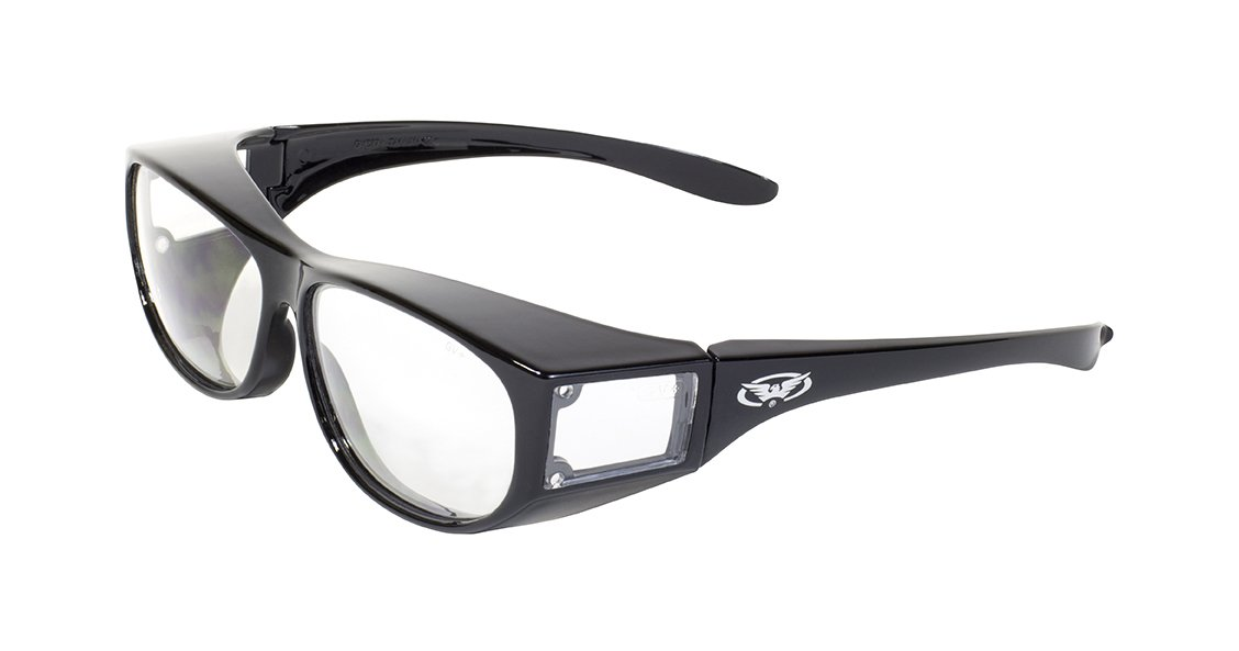a736a65930a7 Amazon.com  Global Vision Safety Fit Over Glasses (Black Frame Clear Lens)   Sports   Outdoors