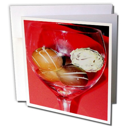3dRose Sandy Mertens Chocolate Designs - Glass of Chocolate Truffles - 12 Greeting Cards with envelopes (gc_6013_2) ()