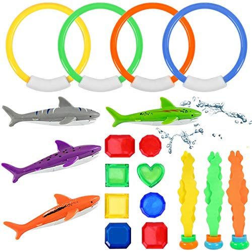 Amarko Diving Toys with Underwater Swimming/Diving Pool Toy Rings Toypedo Bandits Pirate Treasures and Stringy Octopus Water Dive Throw Toy Set, 19 Pack