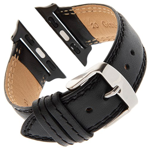 (Gilden for Apple 38mm Double-Stitched Calfskin Black Leather Watch Band LPDS60-SMART (Standard Length,)