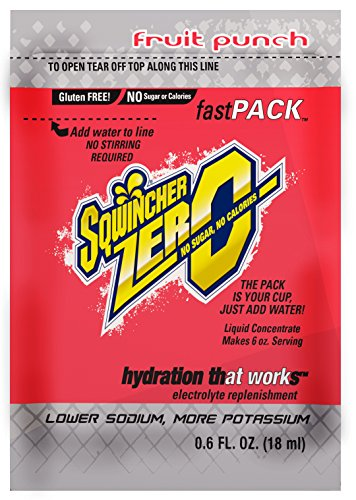 Sqwincher ZERO Fast Pack Sugar Free Liquid Concentrate Electrolyte Replacement Beverage Mix, Fruit Punch 015501-FP (4 Boxes of 50)