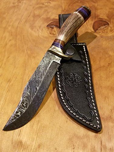 Handmade Deer Antler Handle Hunting Knife Damascus Blade Stag Collection With Leather Sheath Premium (A238) by Artisan Bound