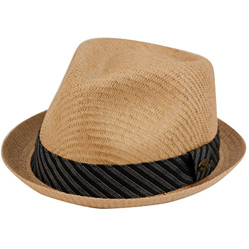 (Epoch hats Mens Summer Fedora Cuban Style Upturn Short Brim Hat (L/XL, LT Brown))
