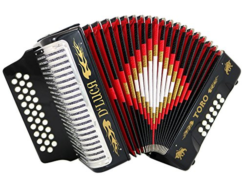 D'Luca Toro Button Accordion 31 12 Bass on GCF Key with Case and Straps, Black (D3112T-GCF-BK)