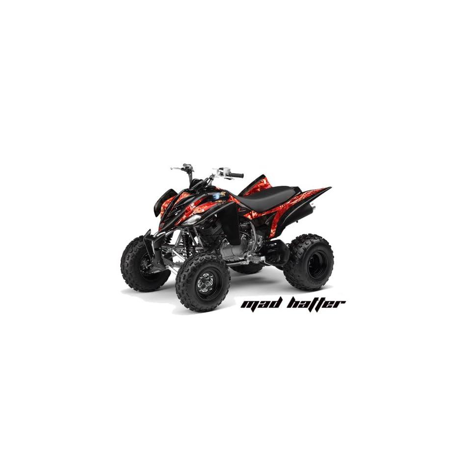 AMR Racing Yamaha Raptor 350 ATV Quad Graphic Kit   Madhatter Black, Red