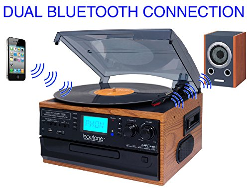 Boytone BT-22W, Bluetooth Record Player Turntable, AM/FM Radio, Cassette, CD Player, 2 built in speaker, Ability to convert Vinyl, Radio, Cassette, CD to MP3 without a computer, SD Slot, USB, AUX Turntable Usb Connection