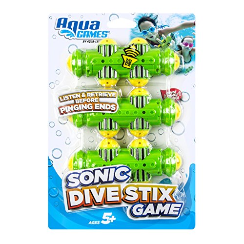 Aqua Sonic Dive Sticks, 3 Piece Set, Toss, Dive & Retrieve, Pool and Bathtub Toy, Ages 5 and Up
