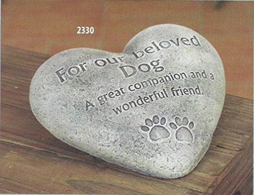 For Our Beloved Dog Pet Memory Bereavement Cement Heart Shaped Stone Grave Marker 6' x 6'