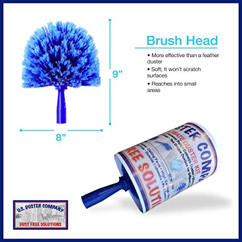 Ceiling Fan Duster Cobweb Duster, Extendable Reach 20 feet,   3-Stage Aluminum Telescoping Pole   Extends for High Ceiling Duster   Long Handle Plus 2 Duster Heads by U.S. Duster Company (Image #1)