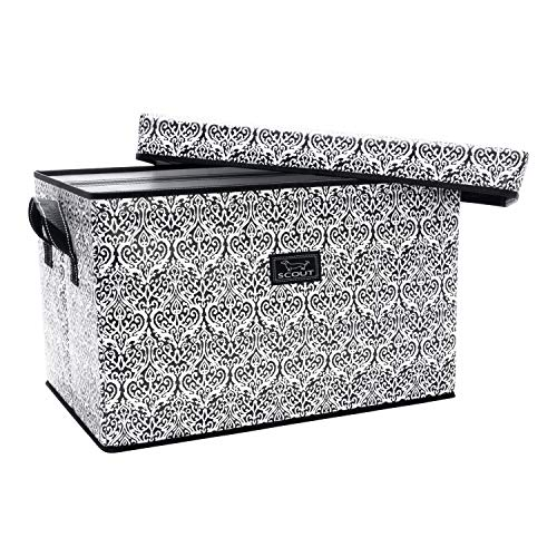 (SCOUT Rump Roost Large Lidded Storage Bin, Collapsible and Stackable, Reinforced Side Handles and Bottom, Water Resistant (Black Knight))