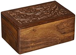 Hand-Carved Rosewood Urn Box