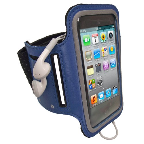 iGadgitz Blue Reflective Anti-Slip Neoprene Sports Gym Jogging Armband for Apple iPod Touch 2nd, 3rd & 4th Generation 8gb, 16gb, 32gb & 64gb (Ipod Touch 2nd Generation)