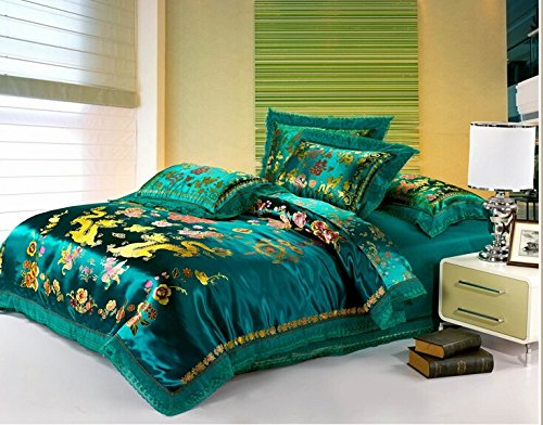 Joybuy Chinese Dragon Duvet Cover Bedding Set,wedding Bed Cover,lace Bedspreads,unique Bedding Sets,luxury Bedding Set,queen 4pcs Bed Sets Comforter Not Included (Green) by JOYBUY