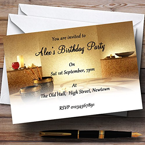 Relaxing Weekend Spa Day Theme Personalized Birthday Party Invitations