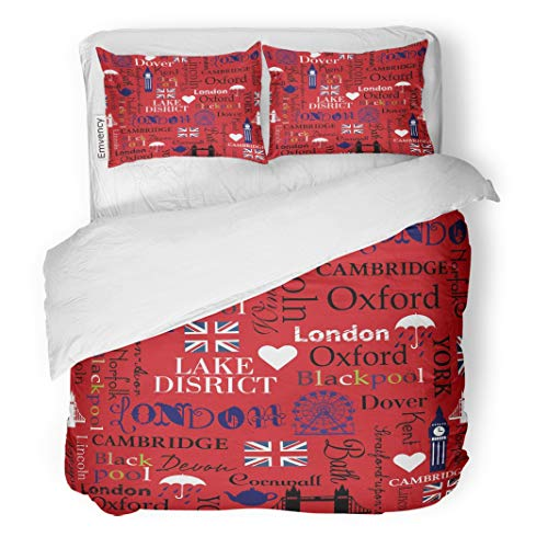 Emvency Decor Duvet Cover Set Twin Size Red Ben London Abstract Pattern for Girls Repeated Big Bridge Britain British 3 Piece Brushed Microfiber Fabric Print Bedding Set Cover ()